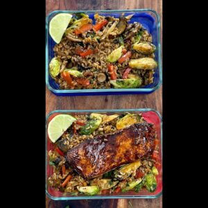 Quick Teriyaki Brussels Sprouts & Grains with Salmon Meal Prep - Short Recipe